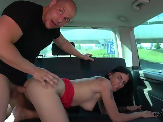 Cheated hitchhiker left boyfriend and enjoy pussy fuck on back seat of van