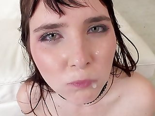 Cumslur Lika BlackBerry gets rough DAP & swallow 10 mans cum