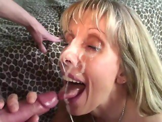 Petite MILF Gets Her Face Covered By An 18 YO Boy!