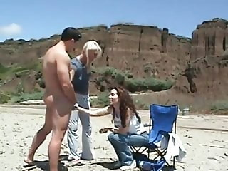 CFNM:  A guy strips and jerks off for two cute women