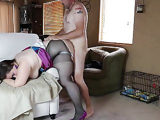 BBW Daphne Blowjob and bent over a chair