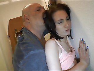 Sexy brunette Teen getting fucked by bald Guy.