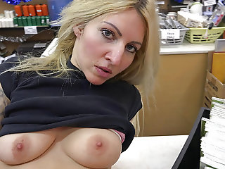 Busty blonde needs to pay the rent