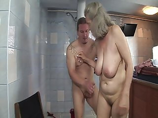 Shameless sex with granny in the bathroom