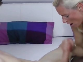 Hot Mature MILF in Stockings Teatches Young Boy How To Fuck