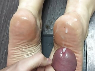 Cum on married coworker soles again