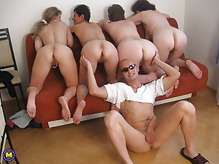 FOUR mature moms fuck lucky boy