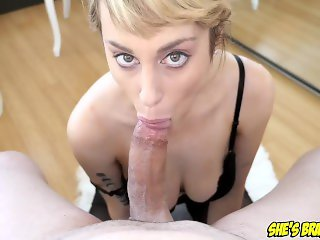 Sexy big tit blonde Maxim Law POV deepthroat blowjob and swallow