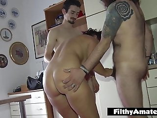 Anal sex and squirt... and the blonde whore drinks it