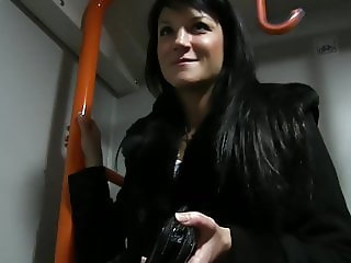 Black-Haired Czech Girl Sucking Cock In A Train