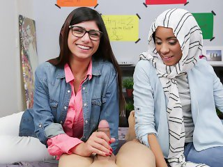MIA KHALIFA - Busty Arab Pornstar Trains Her Muslim Friend How To Suck Cock