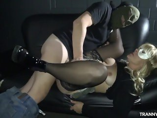 Fun with T-Girls at a car park and in a porn theater