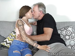 Young hottie seduces and fucks fat dicked grandpa