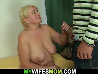 Busty blonde granny fucks son in law
