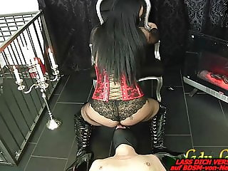 German BDSM fetish lady domina facesitting and piss games