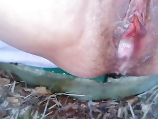 Hiking granny outdoor creampie