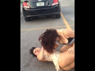 Pussy and tits exposed in fight