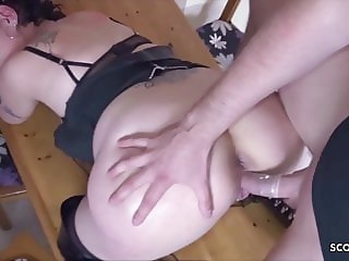 German Mother Naomie Seduce Step Son to Fuck in Kitchen