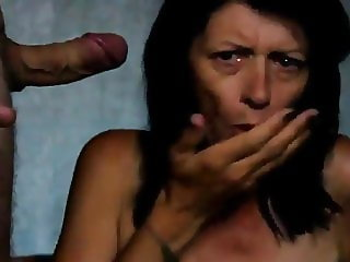 MILf got cum in mouth and nearly choke on it