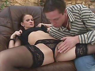 slut in stockings toyed and fucked