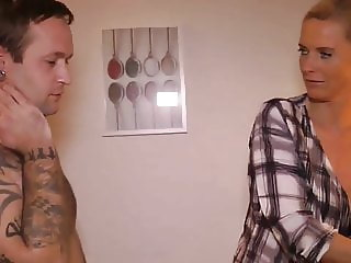 busty mature milf takes hot creampie with her young roommate