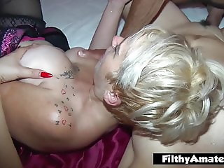 Crossdresser participates in orgy with two wives squirters