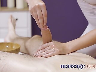Massage Rooms Sexy pert young masseuse Katy Rose gives oily
