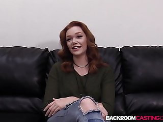 Redhead Rowan bent for doggystyle and creampie in casting