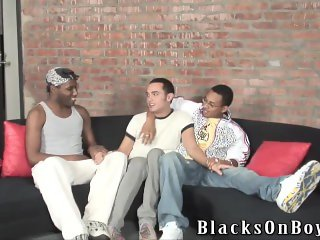 Straight white guy gets gangbanged by black men
