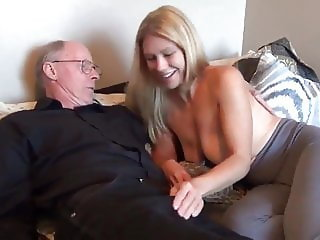 Naughty Blonde Loves her 70yo Owner of an Apartment