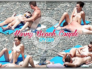 Horny Couple Masturbate Play at nudist beach Voyeur Cam Spy