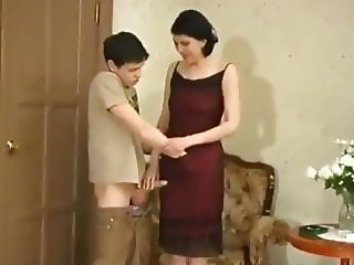 Shameless Mature MILF Seduces and Fucks Shy Teen Boy