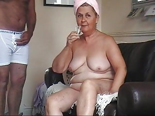 61 year old granny schoolgirl strips naked and drinks cum