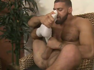 Ricky pulls down his shorts & precum is already dripping