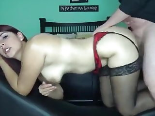Hot Wife in Stockings Gets Her Ass Filled Up with Cum