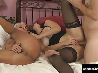Busty Cougar Charlee Chase & Sally D'Angelo Mouth Fuck Cock!