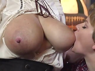 Marie & Kate sucking milky tits