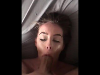 Teen snowbunny gets facefucked and a messy facial