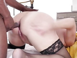 White Mom Seduces Younger Black Man into Bed. Lustful Mature