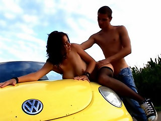Nothing is more wild then an outdoor sex adventure. He was happy with just going back to his bedroom, but this horny teen slut wanted to fuck where they could get caught.
