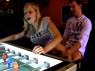 These teens are in the arcade section of the bar, but they found a much more fun game to play. Soon clothes are coming off and they`re having a full blown fuck fest right there.