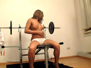 Anna didnt come here to work out!  The Teen Sex Fusion girl is in the gym just so she can be around all those big machines and massive bar bells. The naughty girl straddles her legs over the bench press and you can see the tasty wet spot thats on her whit