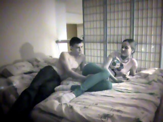 This amateur teen sex video is really kinky!  It isnt just because the young couple are getting naughty for the cameras though.  The couple Lana and Gosha wanted to make sure that their home sex tape was hot so they asked their friend to film it!  Even th