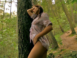 Gloria loves to go walking in the woods behind her house but while most people think that she just loves nature the truth about it is that naughty Gloria just loves flashing her tight pussy out in those woods! Gloria just cant get enough of being out in n