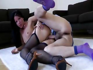 Raven slut fucks oldie