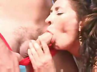 Hairy Mom fuck in the beach