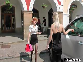 Two blonde Euro babes having a messy wam part3