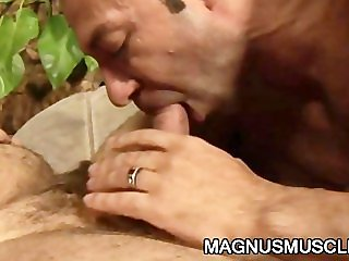 Horny DILF s exploring each others body