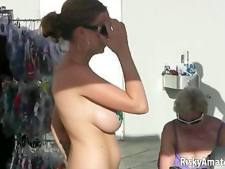 Bunch of amateur sluts getting wild and horny in public