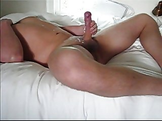 Masturbating my uncut cock with long foreskin